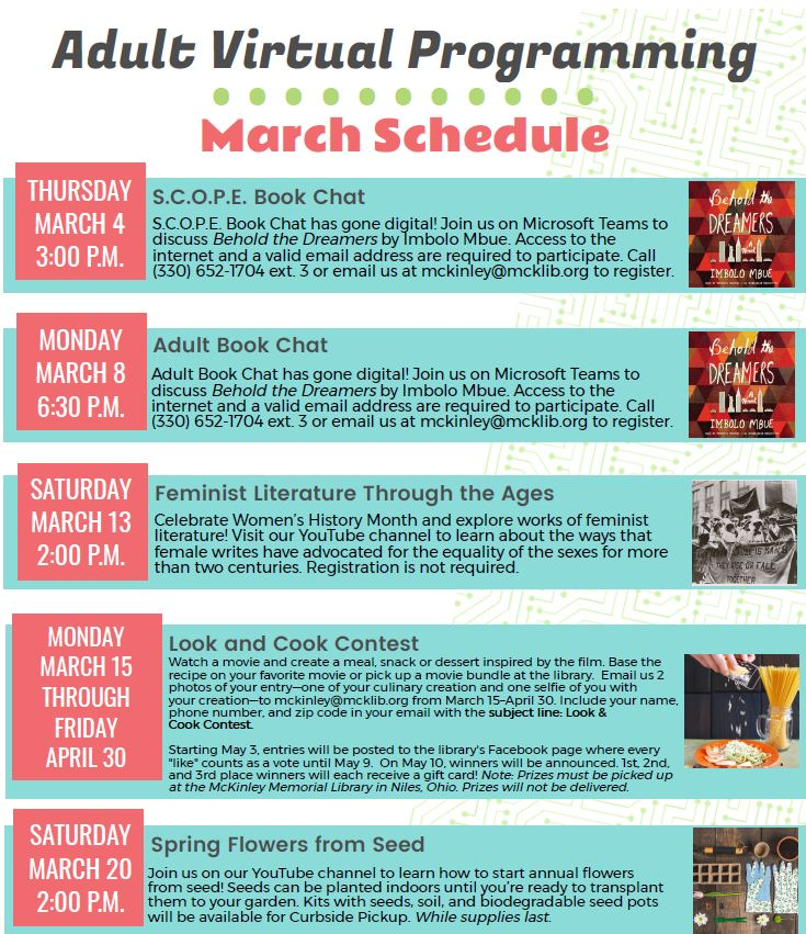March Virtual Adult Programming Schedule
